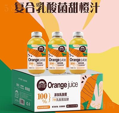 318毫升玻璃瓶复合乳酸菌果汁甜橙味