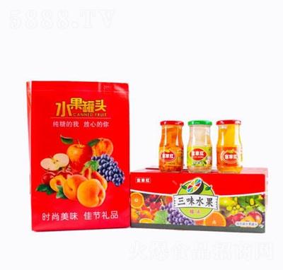富家红三味水果罐头箱装产品图