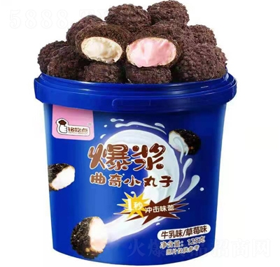 铭吃点爆浆曲奇小丸子牛乳味草莓味125克