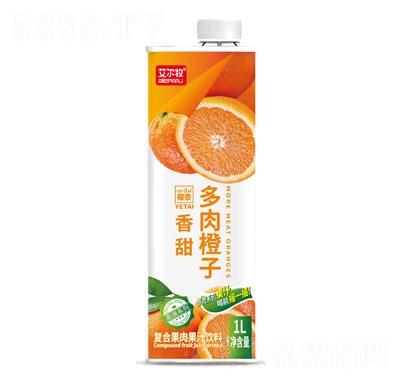 艾尔牧多肉橙子复合果肉果汁饮料1L