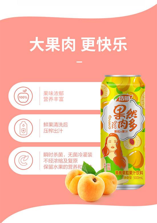 浩明果然肉多黄桃果粒复合果汁